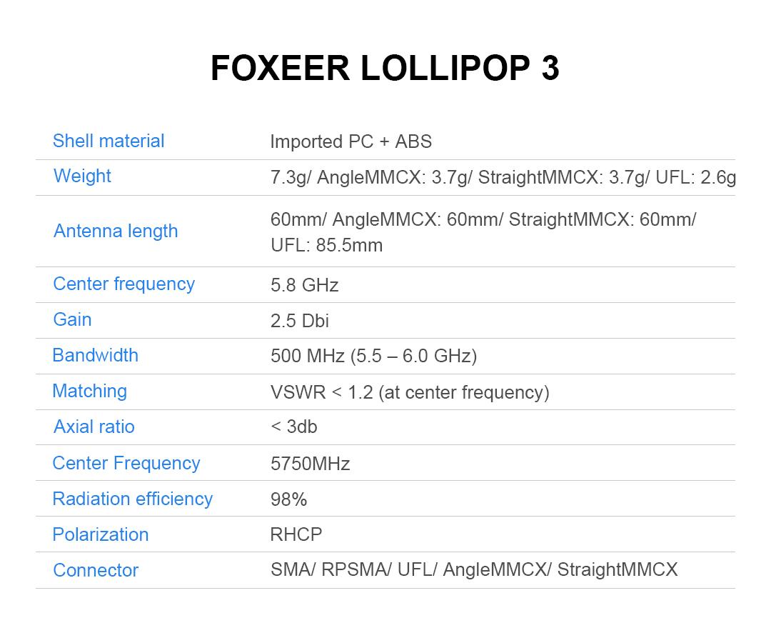 Foxeer Antena Lollipop 5.8G V3 (2 Piezas)