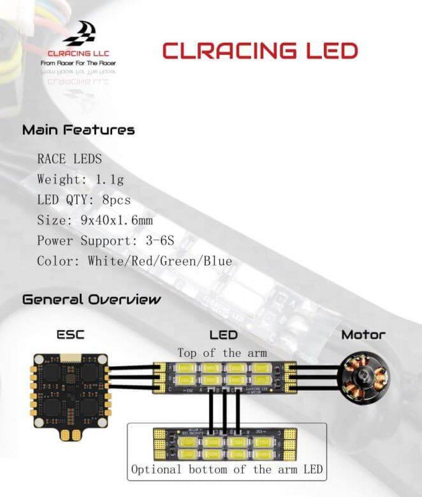 Led + conexión ESC CLRACING (4 piezas)