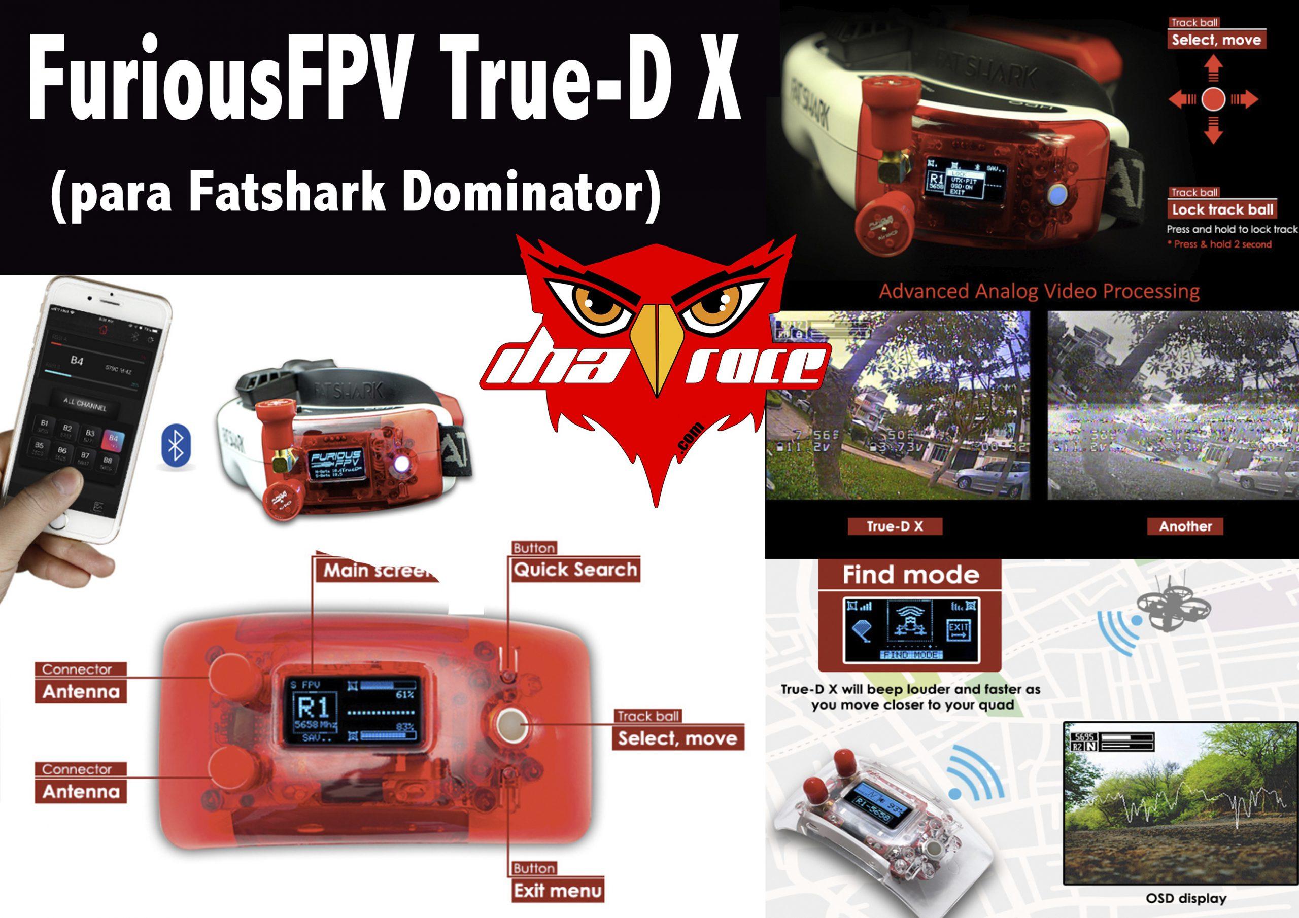 FuriousFPV True-D X (para Fatshark Dominator) - Rojo
