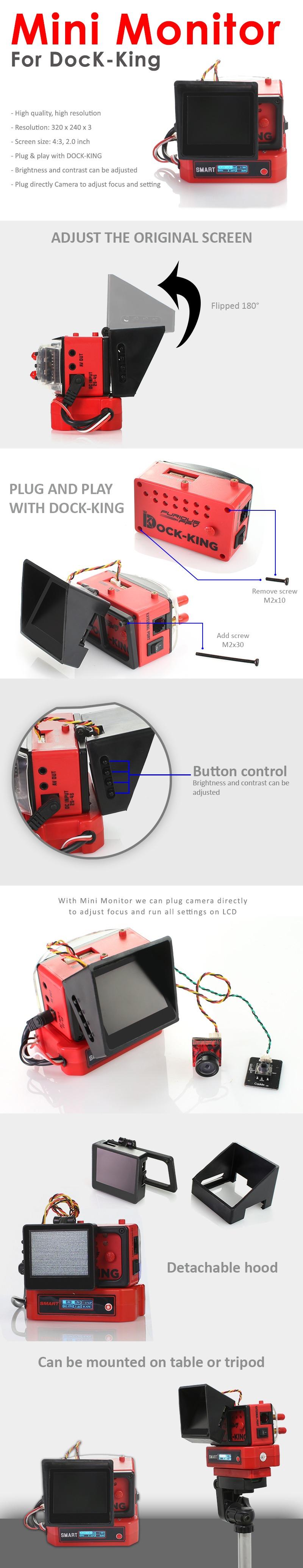 FuriousFPV - Mini monitor para Dock-King