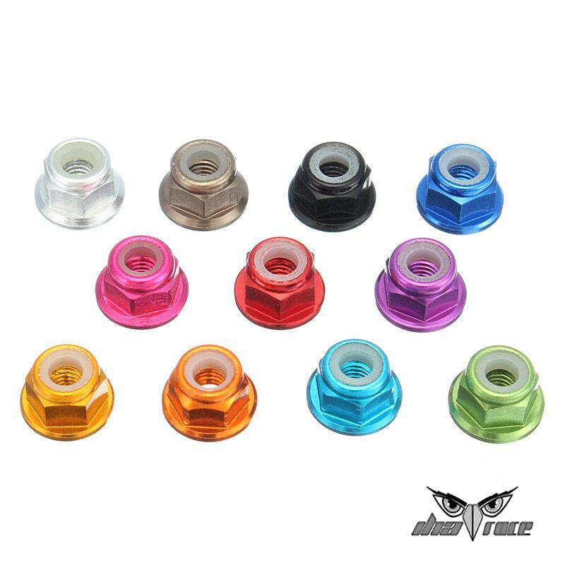 comprar tuercas autoblocantes de aluminio insercion nylon con arandela varios colores M3 M5 baratas